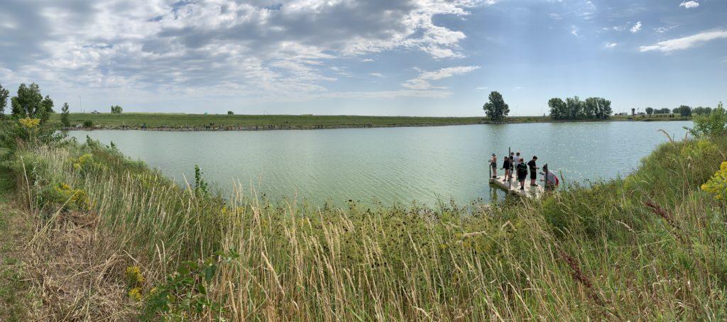 Students on dock at Johnson Lake